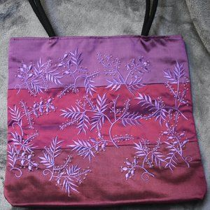Iridescent Embroidered and Beaded Zipper Top Purse